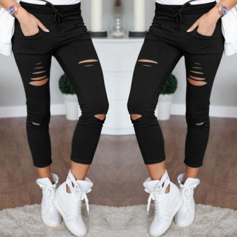 2019 Summer Women Skinny Cut Pencil Pants High Waist Stretch Jeans Trousers Casual Fashion Cotton Pants Slim Legging White Black 2
