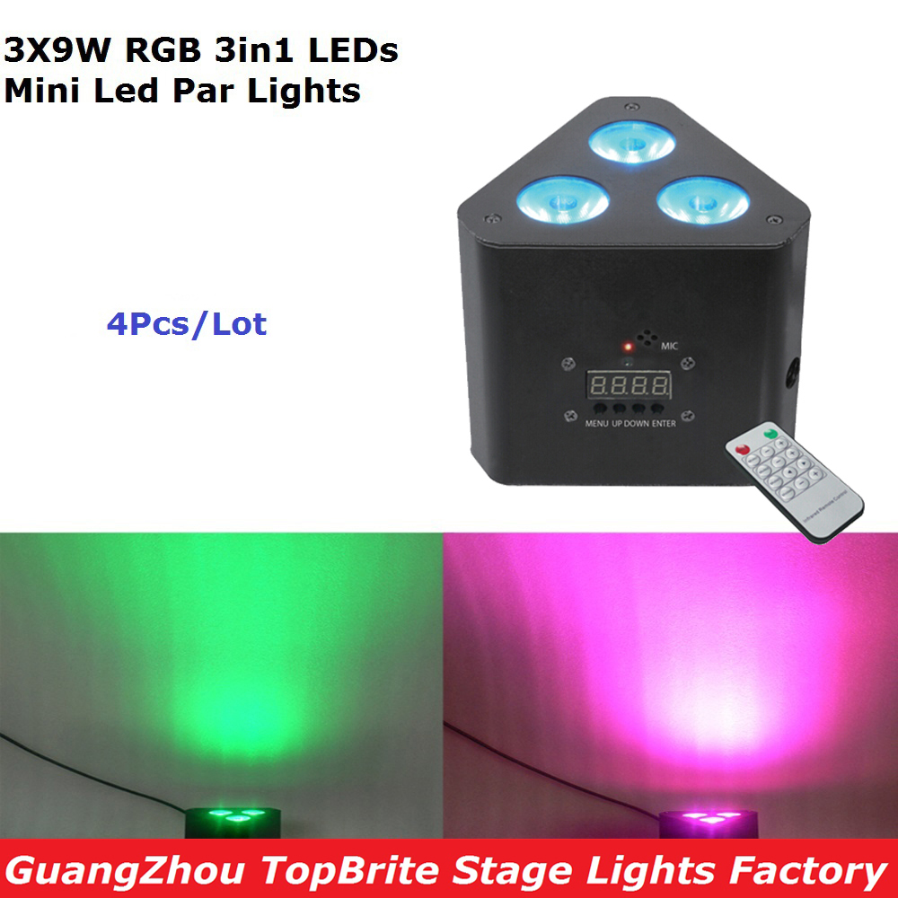 4Pcs/Lot New Led Mini Corner Light 3X9W RGB 3IN1 Professional Stage Effect Lighting For Stage Disco Laser Lights IRC Remote