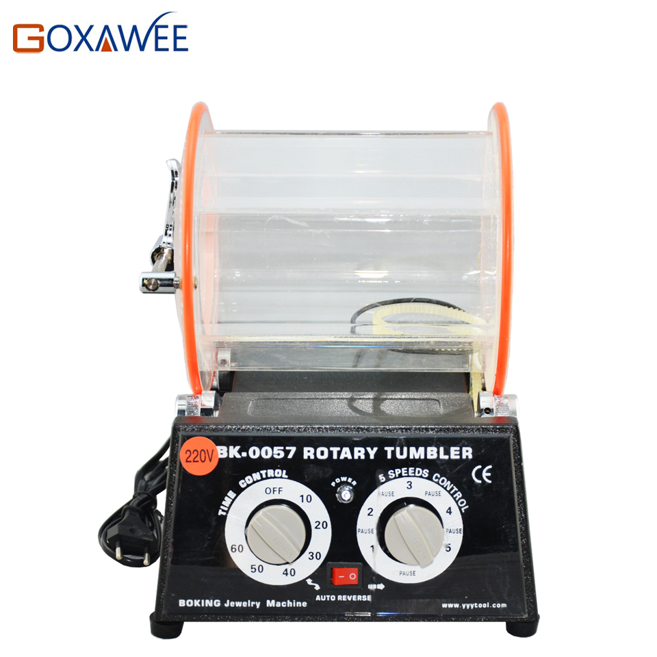 GOXAWEE 5KG Rotary Barrel Tumbler Polishing Machine With 190x180mm Bucket Jewelry Rotary Polishing Machine Grinding Machine 5kg capacity mini rotary polishing tool jewellery polishing machine rotary polishing machine