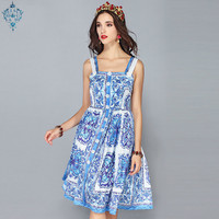 LD LINDA DELLA New Fashion Runway Summer Dress Women's Spaghetti Strap Blue and white Floral Printed Casual Dress vestidos