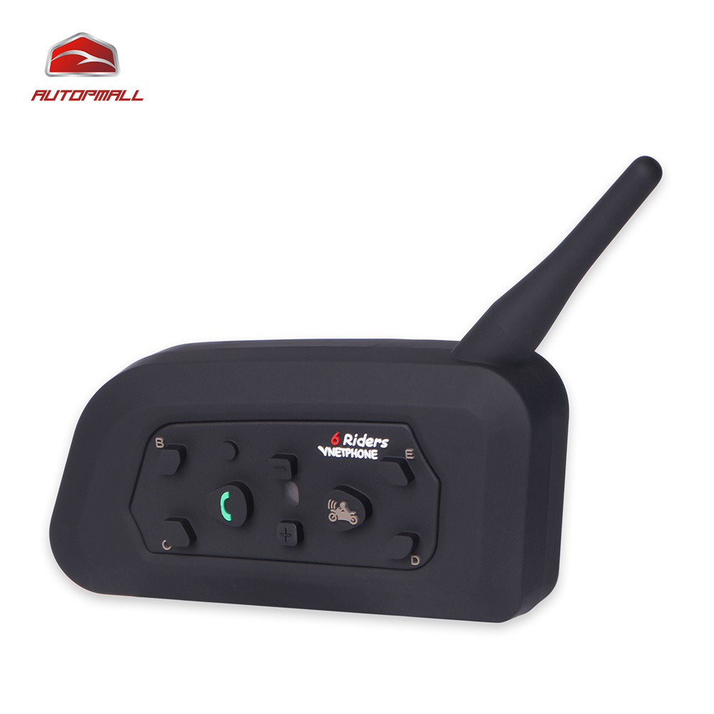 V6C Free Shipping Helmet and Scooter Bluetooth Headset Intercom 6 Riders Communicator Multi-functional Applications 2PCS/Package motorcycle bluetooth helmet intercom v6 stereo headset 6 riders windproof waterproof intercom motocycle skiing concert 2pcs lot
