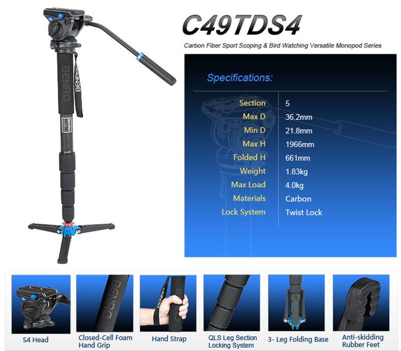 Benro C49TDS4 S4 Professional Tripod camera tripod/Video Tripod/Dslr VIDEO Tripod For Bird Watching Carbon fiber Monopod aluminium alloy professional camera tripod flexible dslr video monopod for photography with head suitable for 65mm bowl size