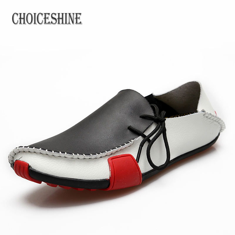 2017 Men Shoes Genuine Leather  Casual Shoes Boat Driving Moccasins Mens Loafers Breathable Flats Splicing Lazy Shoes Plus Size 2017 new fashion summer spring men driving shoes loafers real leather boat shoes breathable male casual flats