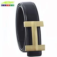Guizue ماركة جلد طبيعي حزام الرجال الصلبة براس فاخر h مصمم عالية الجودة الأعمال حقيقية الجلود h السلس مشبك حزام
