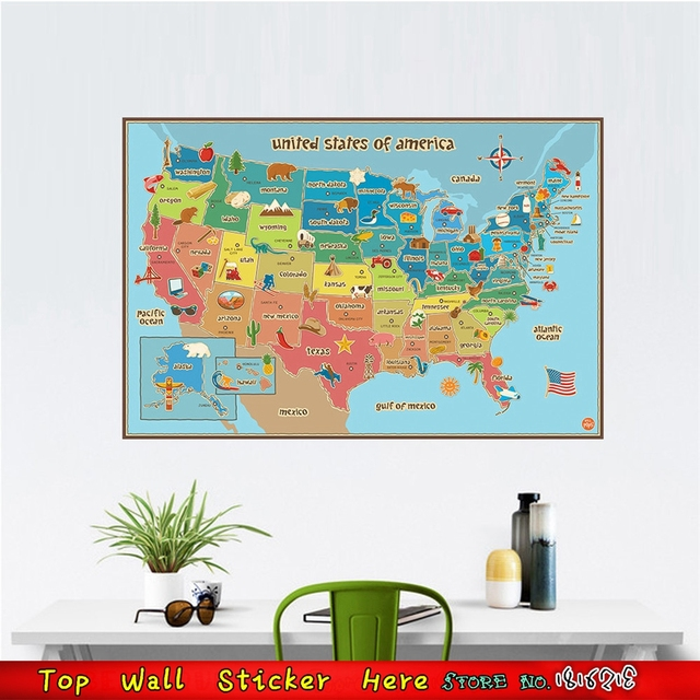 Cartoon United States World Map Of American USA Wall Sticker For - Us wall map for kids
