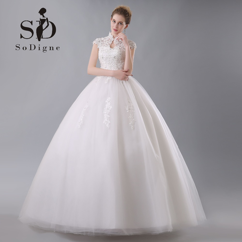 Wedding Dress 2018 SoDigne Cap Sleeve Beaded With Delicate Appliques Romantic A Line Custom Made Keyhole Backless Bridal Gown