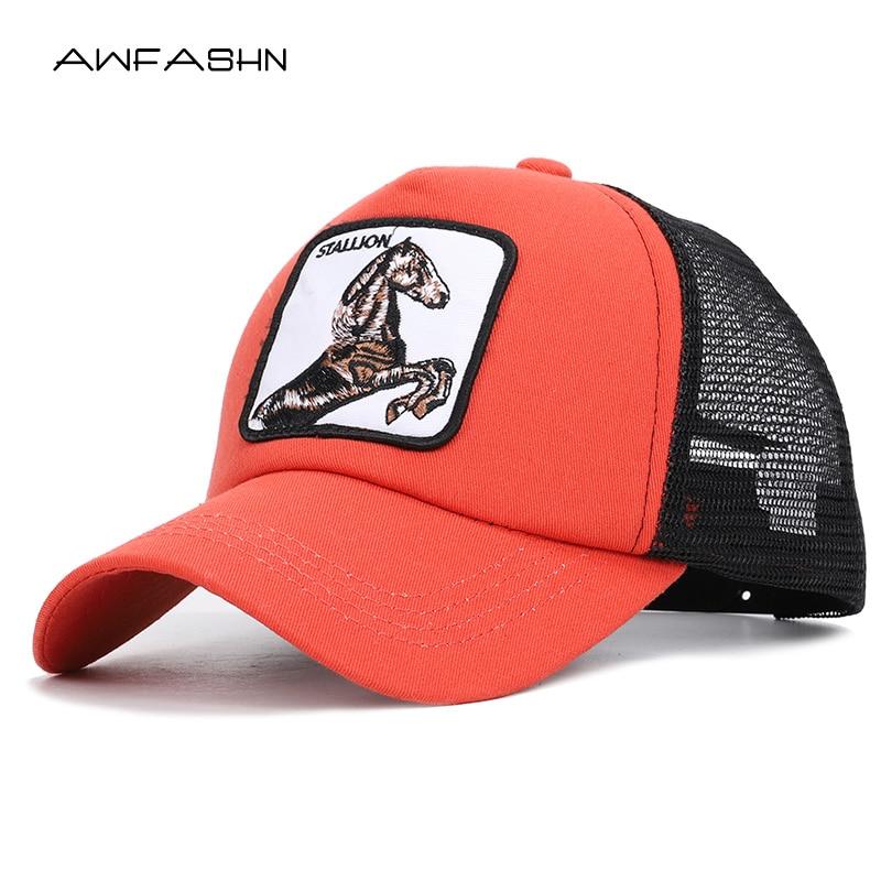 Fashion Animals Embroidery   Baseball     Caps   Unisex Horse Summer Mesh Hat Men Women Snapback Streetwear Bone Gorras Adjustable Male