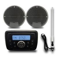 Водонепроницаемый Морской Стерео Bluetooth Радио Аудио Автомобильный MP3 плеер FM AM 3 морской перевозки компактной колонки + антенна для Boat spa ATV UTV