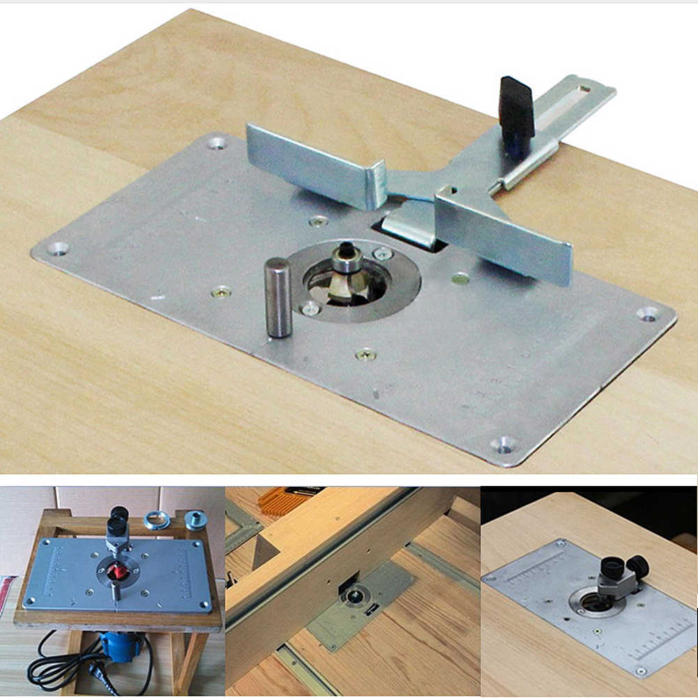 Woodworking Router Tabel Menyisipkan Piring Bangku Aluminium Kayu Router Trimmer Model Ukiran Mesin dengan 4 Ring Tools