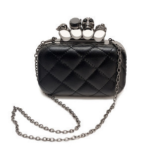 2012 black leather Skull Clutch Knuckle Rings handbag .Imitation sheepskin bag , women's handbag.free shipping wholesale