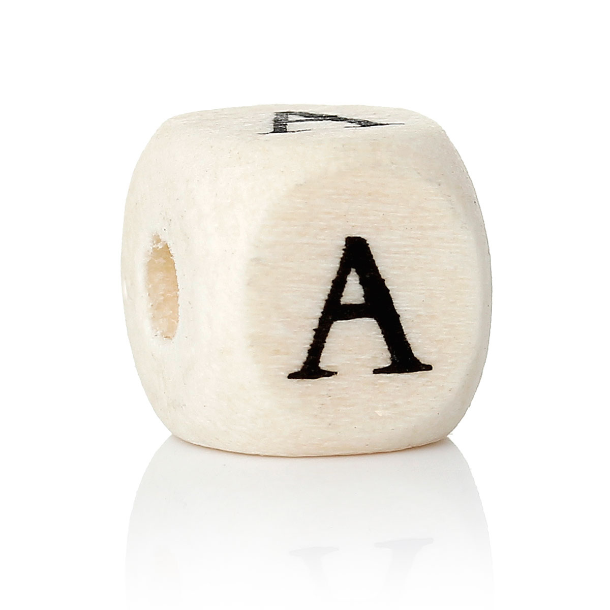 "DoreenBeads Wood Spacer Beads Cube Natural Letter Pattern About 10.0mm( 3/8"") x 10.0mm( 3/8""), Hole: Approx 4.0mm, 30 PCs"