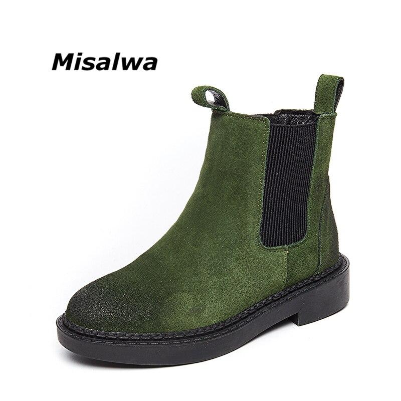 Misalwa Nouvelle Bande Élastique de Femmes Bottes Automne Hiver Casual Chelsea Bottes Plus de Velours Vintage Bout Rond Femmes Chaussures
