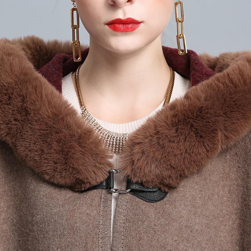 New Fashion Long Rex Rabbit Fur Hooded Cape Cloak Overcoat Wool Cashmere Shawl Pashmina Women Autumn Winter Loose Fur Coat