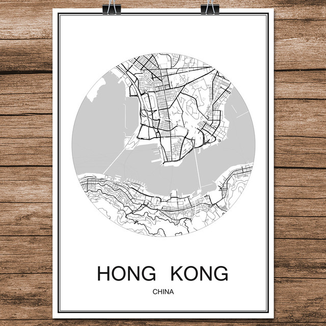Abstract world city street map hong kong china print poster coated abstract world city street map hong kong china print poster coated paper cafe living room home gumiabroncs Choice Image