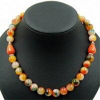Noble Rainbow Agate Gems Beaded Chain Choker Necklace Tangerine Garnet 47cm New Vintage Classic Natural Stone