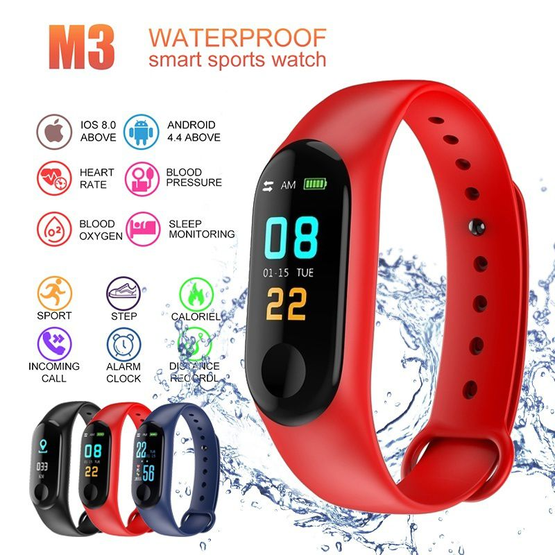 M3 Smart Watch Wearable Waterproof Bluetooth Smart Band Watch Bracelet Wristband Color Screen Fitness Tracker Blood Pressure
