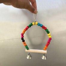 Pet Птица Попугай качели деревянные красочные бусины Попугайчик попугай клетка подвесная игрушка TB распродажа