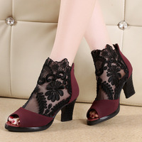 New Mesh Coarse Heels Lace Spring And Summer With Super Fine Waterproof Taiwan Shallow Mouth Shoes