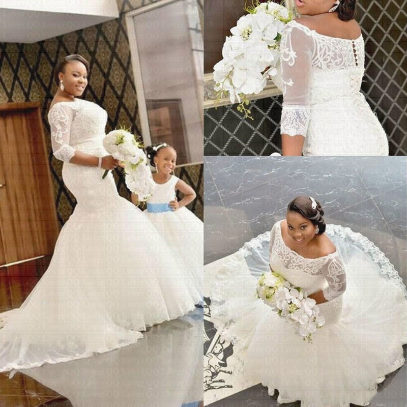 2019 African Half Sleeves Mermaid Wedding Dresses Lace Appliques Off The Shoulder Wedding Gowns Bride Dress