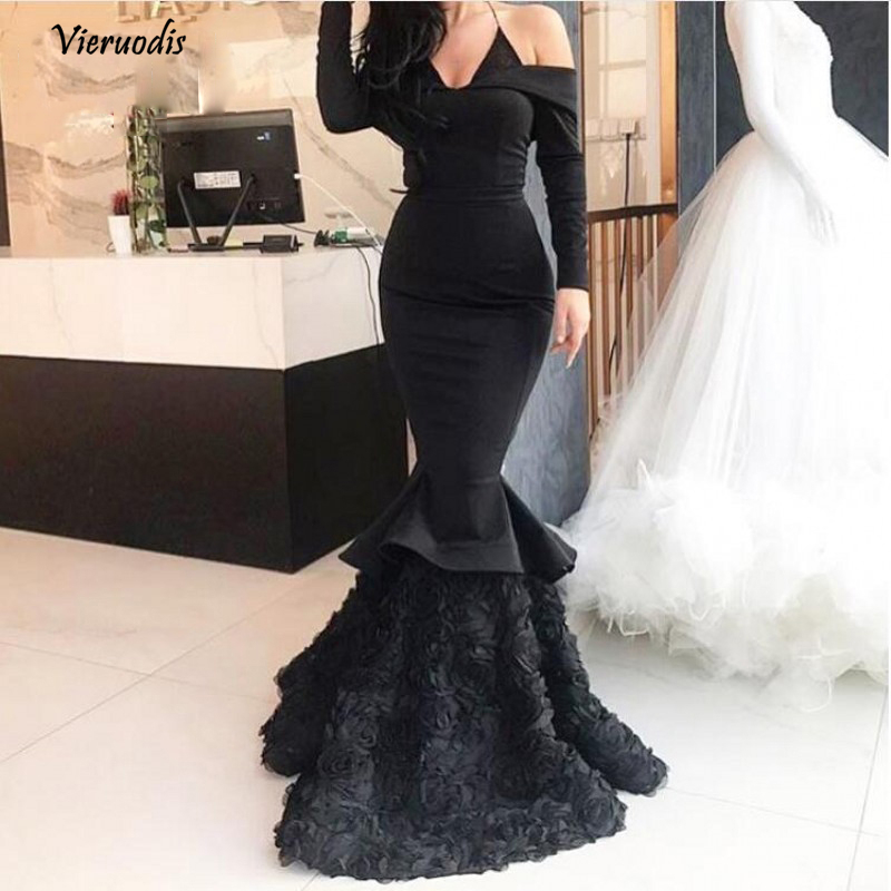 29-1              Black Rose Flower Stretchy Mermaid Evening Dresses 2018 Full Sleeves Halter Sexy Long Evening Gowns Formal Party Dress