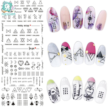 лучшая цена DS306 New Design Water Transfer Nails Art Sticker Harajuku Elements Line Figures Nail Wraps Sticker Tips Manicura nail Decal