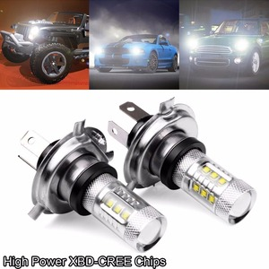 2PC 80W 12V 24V Xenon White H4