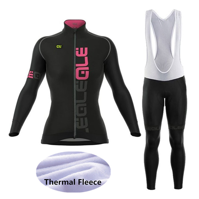 Cycling Jersey Team Bike Clothing Bib Shorts Set Cycling Set Long Sleeve Winter Fleece Thermal Jersey Shorts Outdoor Sportswear