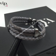 Christmas Gift Smoke Gray Handmade Python Leather Bracelet  925 Silver Bracelet With Gift Box Men Bracelet For Watch Wholesale