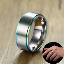 Men Ring Silver Tone Brushed Center With Rainbow Rim And Comfort Fit 8MM Wedding Band Crafted 316L Stainless Steel Male Jewelry