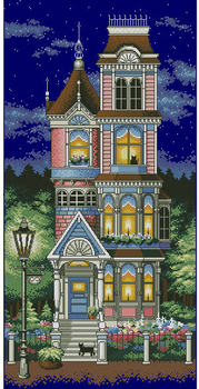 14/16/18/27/28 High Quality Counted Cross Stitch Kit Victorian Charm House Starry Night Star DIM 13666 Navy Blue Canvas image