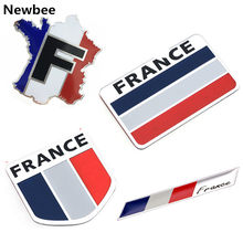 Car Styling 3D Aluminum France Flag Emblem Badge Car Sticker Decals Car-Styling For Peugeot 307 206 207 Citroen Renault DS C2 C3(China)