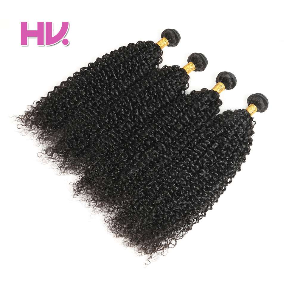 Hair Villa Pre-Colored Human Hair Weave Brazilian Jerry Curl 4 Bundles #1B Natural Color Non-Remy Hair Extension 8-26 Inches