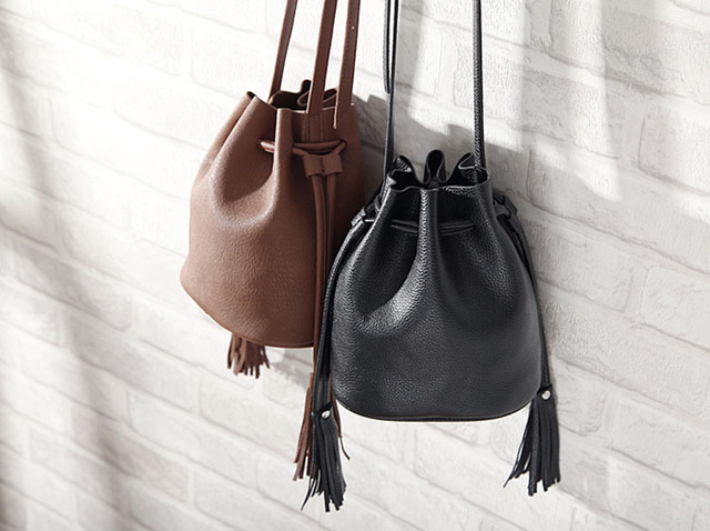 1529a993db71b 2015 New Women Bucket Bag Lady Small Shoulder Bag Girl Black Cross Body Bag  Cute Sling Bag Drawstring Tassel CHL HAPPY MALL15100