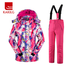 Girls Waterproof Ski Suit Children Ski Jacket and Pants Warmth Thickened Winter Clothes -30 Degree