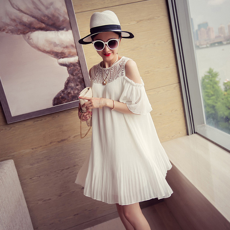 High Quality Lace Patchwork Maternity Dress for Photo Shoot Black White Knee-Length O-Neck Dress for Pregnant Women kensie new black white women s size xs floral lace scoop neck sheath dress $119