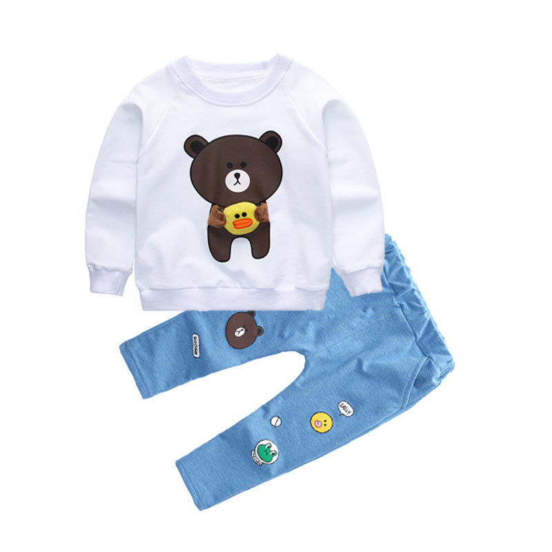 2017 boys and girls autumn suit new style suit baby sports children wear baby long sleeved bear duck set.