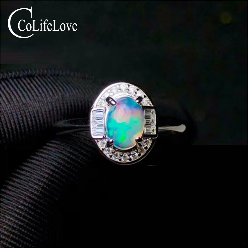 Classic 925 sterling silver opal jewelry 5 * 7 mm natural Australia opal ring solid 925 opal jewelry gift for woman
