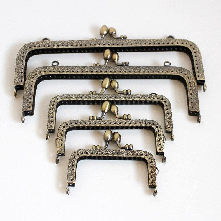 2pcs Bronze Arch Metal Purse Frame Handle Clutch Diy Materials Bag Handbag Accessories Making Kiss Clasp Lock Buckle 8cm-20cm