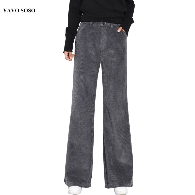 YAVO SOSO 2018 Women Corduroy Pants  Autumn Winter brown Gray Blue Casual Thicken Wide Leg chic Cotton Trouser