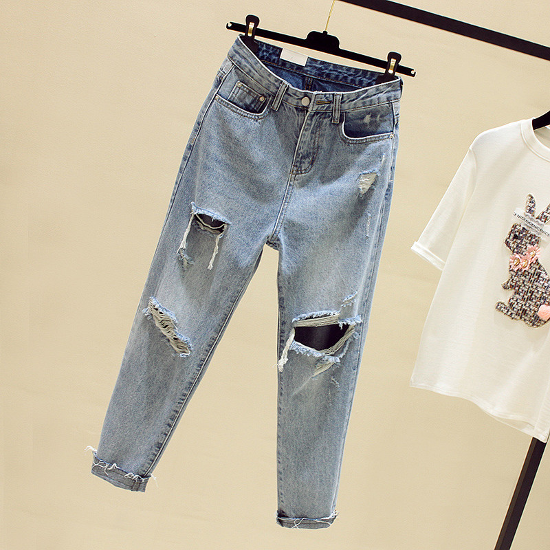 JUJULAND New Dark Blue   Jeans   Pancil Pants Women High Waist Slim Hole Ripped Denim   Jean   Casual Stretch Skinny Trousers   Jeans   6096