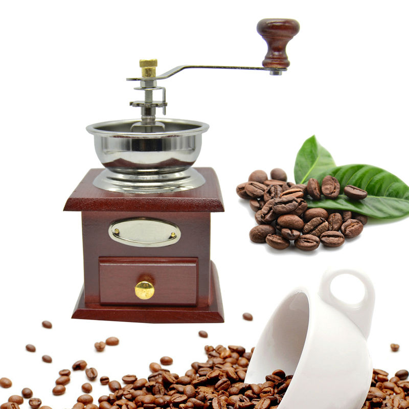 Classical Wooden Manual Ceramic Coffee Grinder Washable Stainless Steel Retro Home Kitchen Mini Manual Hand Spice