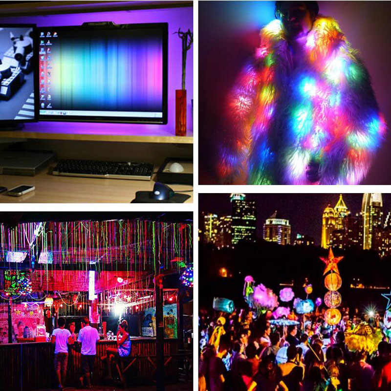 Taśma LED światła SMD 3528 RGB 0.5M 1M 2M 2M 5M DC5V/12 V TV tło ramka na zdjęcia Christmas party motoryzacja wnętrze taśmy światła