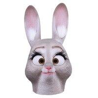 Прекрасный Джуди Кролик Латекс Маска дышащий животных анфас глава маска Хэллоуин Маскарад Маска Партии Причудливого платья Косплей Костюм