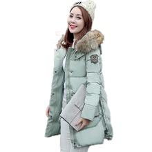 Зимняя Куртка Женщин 2016 Новый Тонкий Epaulet Повседневная Мода Пальто Хлопка С Капюшоном Искусственный Шерсти Воротник Плюс Размер Длинная Куртка