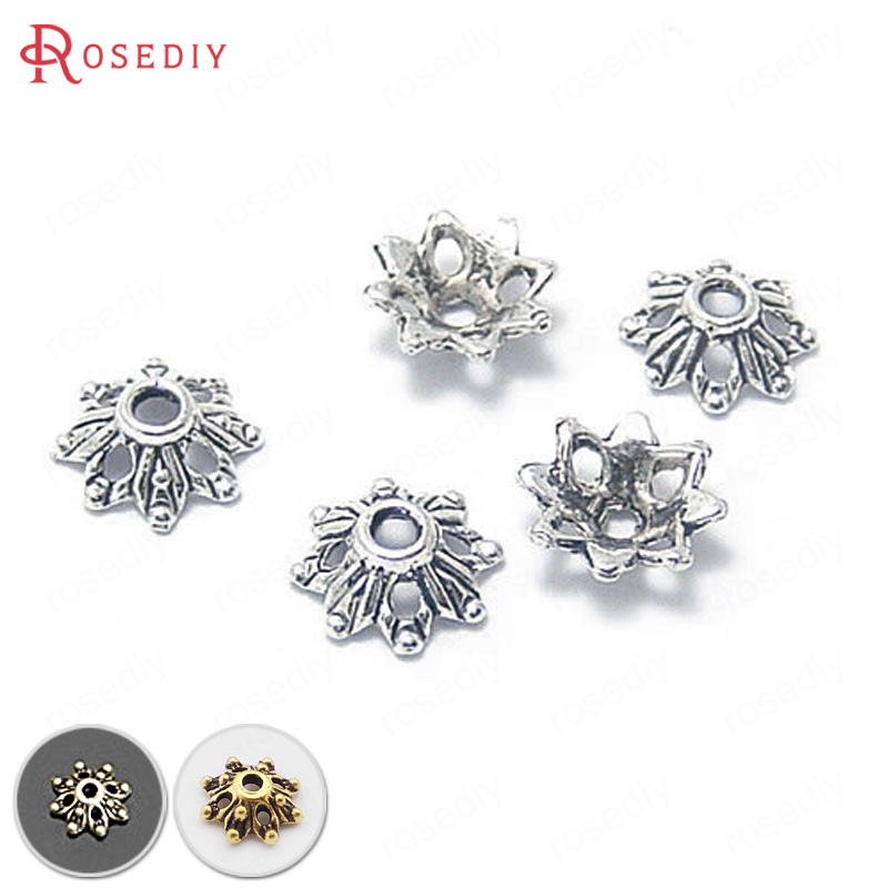 (4331)100PCS Diameter 9MM Height 3MM Antique Silver Zinc Alloy Flower Beads Caps Diy Jewelry Findings Accessories Wholesale