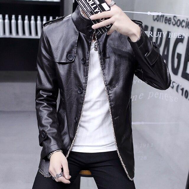 676cca7d2d462 Chaqueta de los hombres con ropa para hombre vestido de cuero de cachemir  engrosamiento joven Coreano
