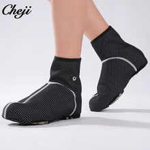 CHEJI Cycling Shoes Cover Waterproof With Zipper Winter Thermal Bike Shoe Overshoe MTB Bicycle