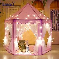 Little J Girl Princess Pink Castle Tents Portable Children Outdoor Garden Folding Play Tent Lodge Kids