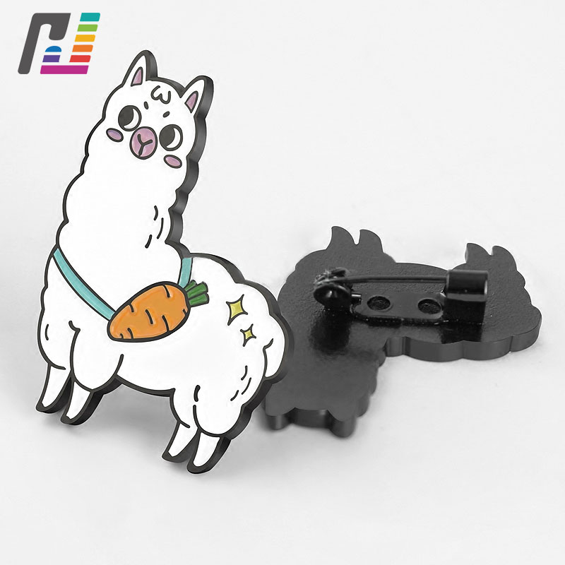 Cute Grass Mud Horse Brooches Pins Enamel Metal Badge Animal Pin Cartoon Enamel Lapel Pin Custom Buy at Least 50PCS brooch pins pink flamingo brooches for women love cute gift enamel lapel pin broche broches 2018 fashion jewelry accessories