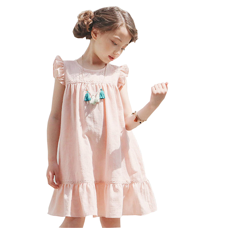 Summer 2017 New Korean Style Fashion Fly Sleeve Girls Dress Cute Children Clothing Kids Lace